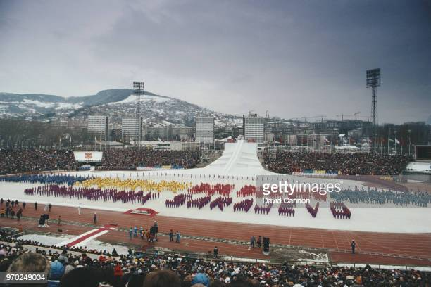 General view of the stadium during the opening ceremony for the XIV Olympic Winter Games on 8 February 1984 in Jahorina SarajevoYugoslavia