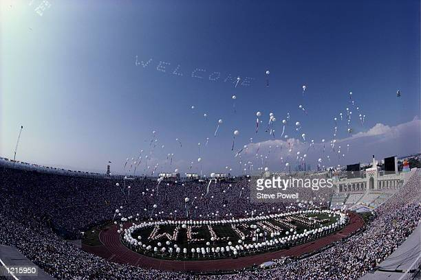 General view of the stadium during the opening ceremony for the XXIII Olympic Games on 28 July 1984 at the Los Angeles Memorial Coliseum in Los...