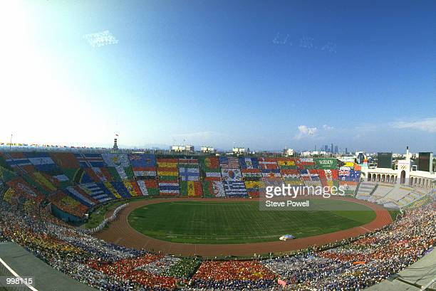 General view of the stadium during the opening ceremony for the XXIII Olympic Summer Games on 28th July 1984 at the Los Angeles Memorial Coliseum in...