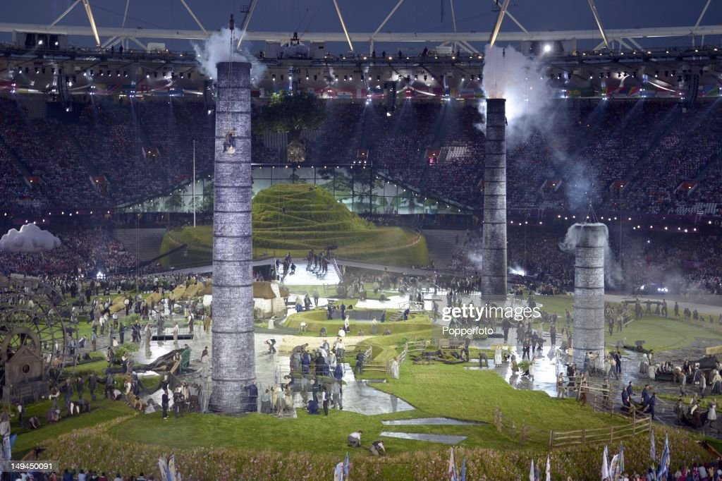 General view of the stadium during the Opening Ceremony of the London 2012 Olympic Games at the Olympic Stadium on July 27, 2012 in London, England.