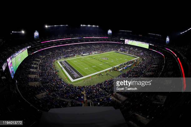 A general view of the stadium during the opening kickoff of the game between the Baltimore Ravens and the New York Jets at MT Bank Stadium on...