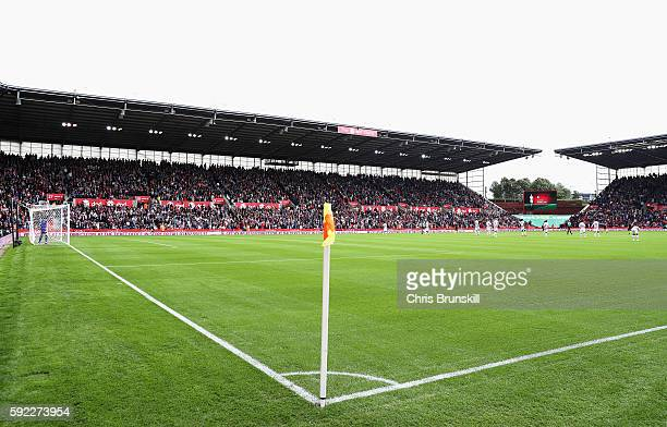 General view of the stadium during the Premier League match between Stoke City and Manchester City at Bet365 Stadium on August 20 2016 in Stoke on...