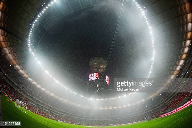 General view of the stadium during the rain before the FIFA 2014 World Cup Qualifier between Poland and England at the National Stadium on October 16...