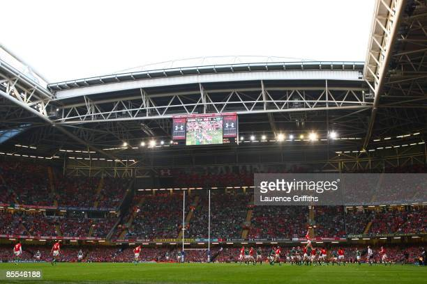 General view of the stadium during the RBS 6 Nations Championship match between Wales and Ireland at the Millennium Stadium on March 21, 2009 in...