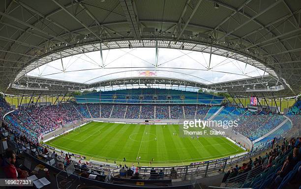 A general view of the stadium during the Regionalliga Playoff First Leg match between between Rasenballsport Leipzig and Sportfreunde Lotte at Red...