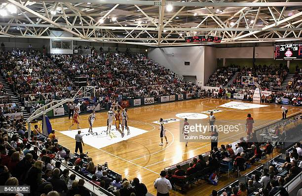 General view of the stadium during the round 13 NBL game between the Melbourne Tigers and South Dragons at the State Hockey and Netball Centre on...