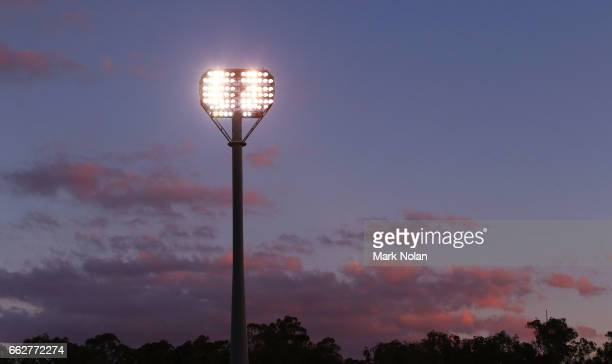 General view of the stadium during the round five NRL match between the Canberra Raiders and the Parramatta Eels at GIO Stadium on April 1, 2017 in...