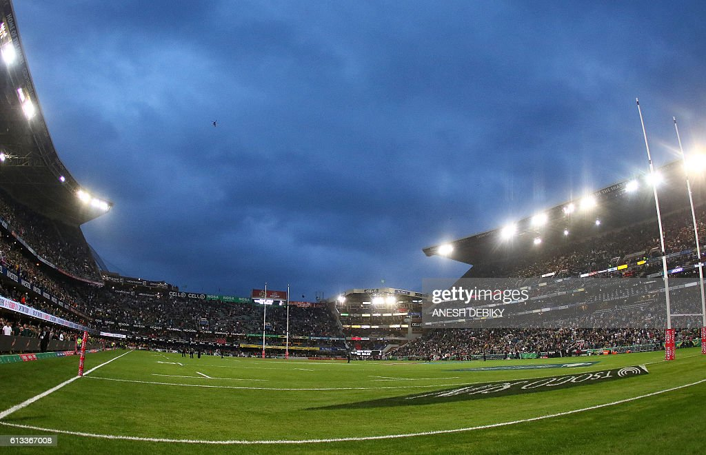 General view of the stadium during the Rugby Championship match between South Africa and New Zealand at Kingspark Rugby stadium in Durban on October 8, 2016. / AFP / ANESH