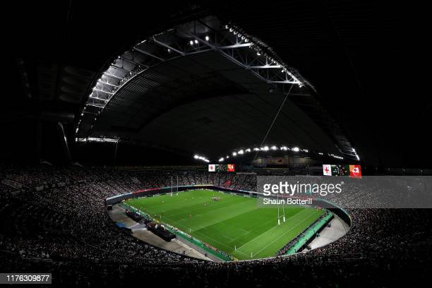 A general view of the stadium during the Rugby World Cup 2019 Group C game between England and Tonga at Sapporo Dome on September 22 2019 in Sapporo...