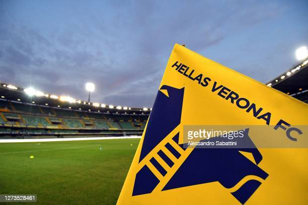 General view of the stadium during the Serie A match between Hellas Verona FC and AS Roma at Stadio Marcantonio Bentegodi on September 19, 2020 in...