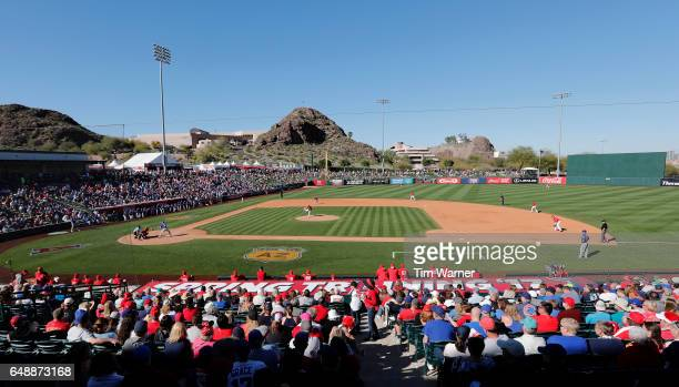 A general view of the stadium during the spring training game between the Los Angeles Angels and the Chicago Cubs at Tempe Diablo Stadium on March 6...