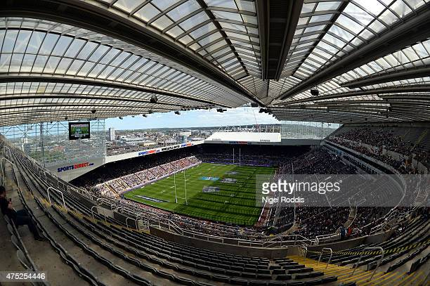 General view of the stadium during the Super League match between Salford Red Devils and Widnes Vikings at St James' Park on May 30, 2015 in...