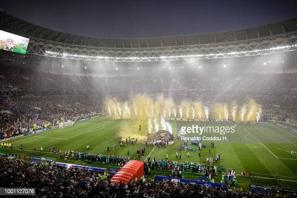 General view of the stadium during the trophy lift ceremony following the 2018 FIFA World Cup Russia Final between France and Croatia at Luzhniki...