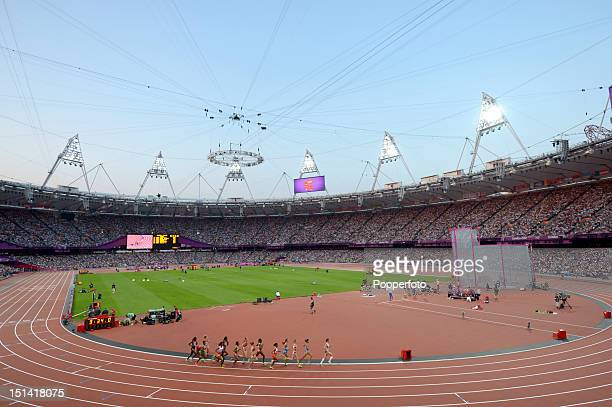 General view of the stadium during the Women's 5000m Final on Day 14 of the London 2012 Olympic Games at Olympic Stadium on August 10, 2012 in...