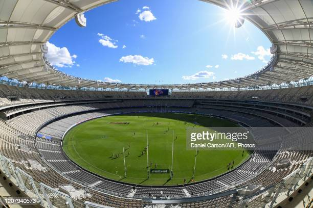 General view of the stadium during warmup before the first bounce during the 2020 AFL Round 01 match between the West Coast Eagles and the Melbourne...