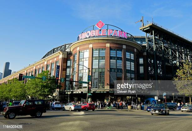 General view of the stadium exterior during the game between the Seattle Mariners and the St. Louis Cardinals at T-Mobile Park on July 03, 2019 in...