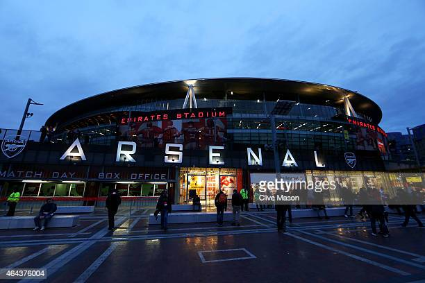 A general view of the stadium exterior prior to kickoff during the UEFA Champions League round of 16 first leg match between Arsenal and Monaco at...
