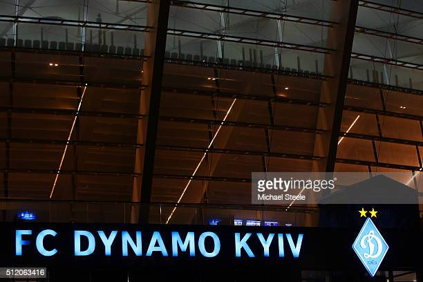 A general view of the stadium exterior prior to kickoff during the UEFA Champions League round of 16 first leg match between FC Dynamo Kyiv and...