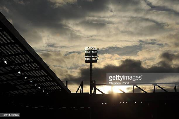 A general view of the stadium floodlights during the Sky Bet Championship match between Norwich City and Birmingham City at Carrow Road on January 28...
