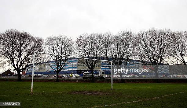 General view of the stadium from a local football pitch during the Barclays Premier League match between Cardiff City and West Bromwich Albion at...