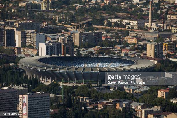General view of the stadium from Mtatsminda Park before the 2018 FIFA World Cup Qualifying Group D match between Georgia and Republic of Ireland at...