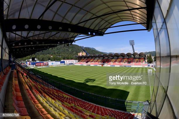 A general view of the stadium from the away section before UEFA Europa League Qualifier match between MFK Ruzomberok and Everton on August 3 2017 in...