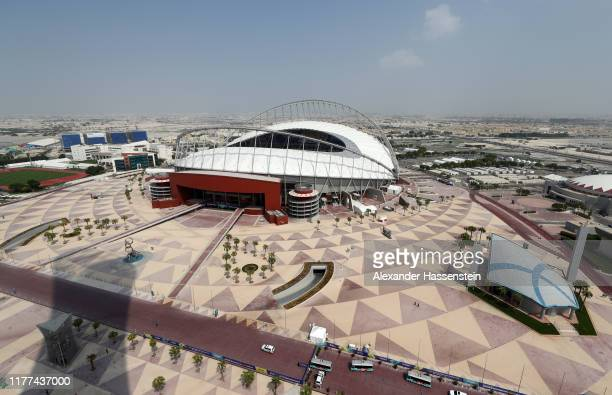 A general view of the stadium from the Torch Doha during day one of 17th IAAF World Athletics Championships Doha 2019 at Khalifa International...