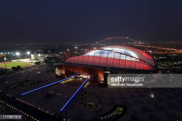 General view of the stadium from the Torch Doha during day three of 17th IAAF World Athletics Championships Doha 2019 at Khalifa International...