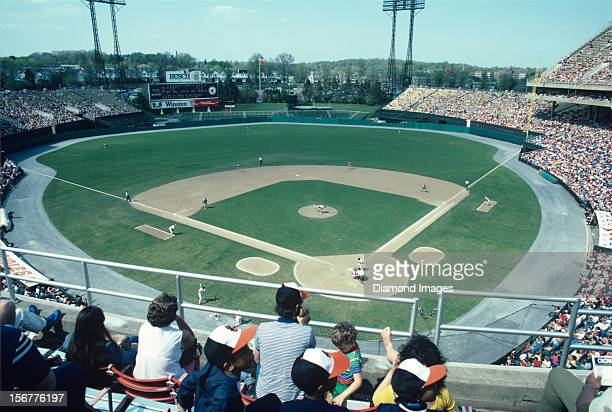 A general view of the stadium from the upper deck as outfielder Al Bumbry of the Baltimore Orioles strides into a pitch from pitcher Steve Renko of...