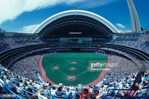 A general view of the stadium from the upper deck seats behind homeplate during the top of the first inning of a game on June 29 1991 between the...