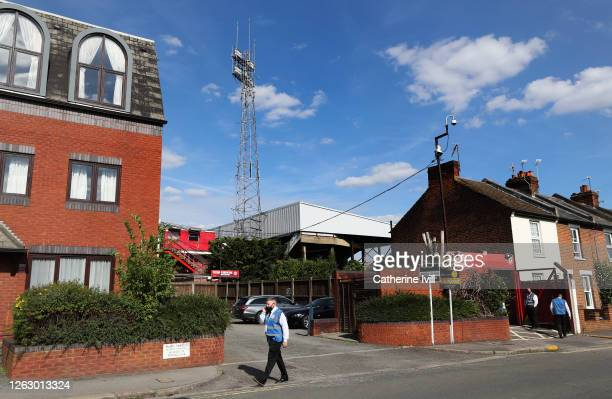 General view of the stadium in a residential street ahead of the Sky Bet Championship Play Off Semi-final 2nd Leg match between Brentford and Swansea...