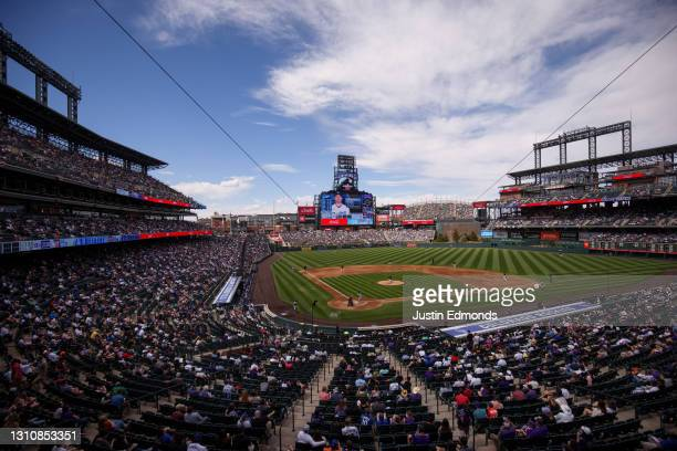 General view of the stadium in the fourth inning during a game between the Colorado Rockies and the Los Angeles Dodgers at Coors Field on April 4,...