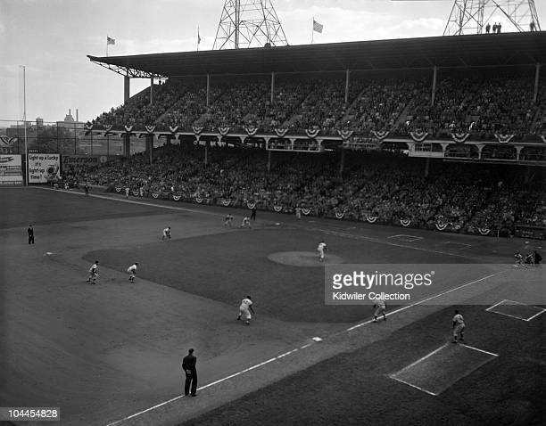 General view of the stadium in the seventh inning when firstbaseman Bill Skowron of the New York Yankees hits a grand slam home run with Billy Martin...