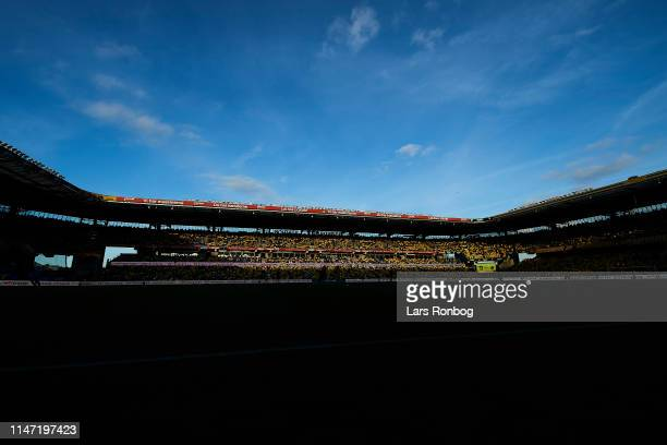 General view of the stadium in the sun during the Danish Superliga Europa League Playoff match between Brondby IF and Randers FC at Brondby Stadion...
