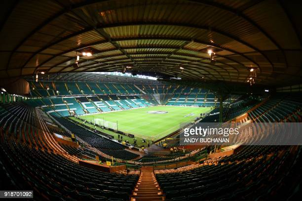 TOPSHOT A general view of the stadium is pictured before the UEFA Europa League football match between Celtic and Zenit Saint Petersburg at Celtic...