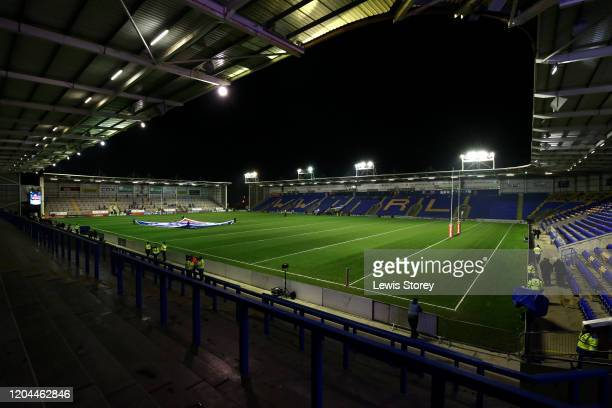 General view of the stadium is seen ahead of the Betfred Super League match between Warrington Wolves and St Helens at The Halliwell Jones Stadium on...