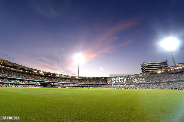 A general view of the stadium is seen at dusk during the Big Bash League match between the Brisbane Heat and the Perth Scorchers at The Gabba on...