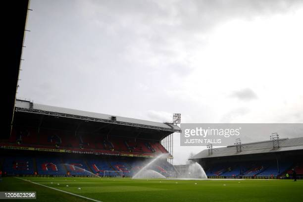 General view of the stadium is seen before the English Premier League football match between Crystal Palace and Watford at Selhurst Park in south...