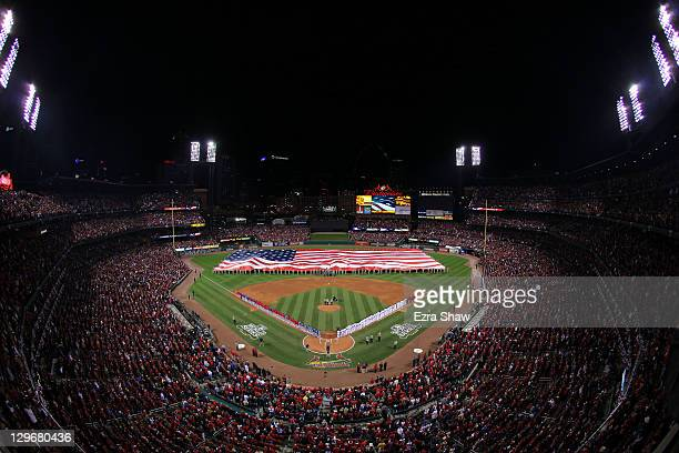General view of the stadium is seen during Game One of the MLB World Series between the Texas Rangers and the St. Louis Cardinals at Busch Stadium on...