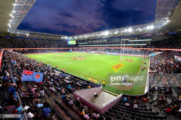 General view of the stadium is seen during the 2020 Sydney Sevens at Bankwest Stadium on February 01, 2020 in Sydney, Australia.