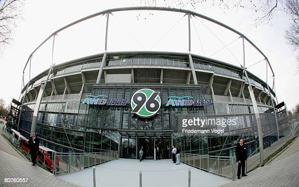 General view of the stadium is seen during the Bundesliga match between Hannover 96 and Arminia Bielefeld at the AWD Arena on March 15, 2008 in...