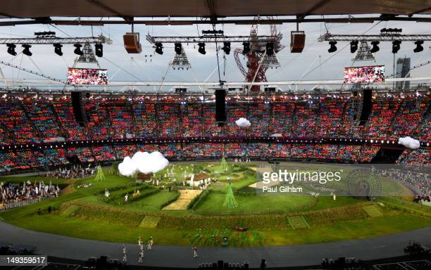 A general view of the stadium is seen during the Opening Ceremony of the London 2012 Olympic Games at the Olympic Stadium on July 27 2012 in London...