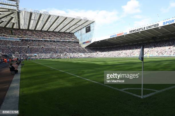 General view of the stadium is seen during the Premier League match between Newcastle United and West Ham United at St. James Park on August 26, 2017...
