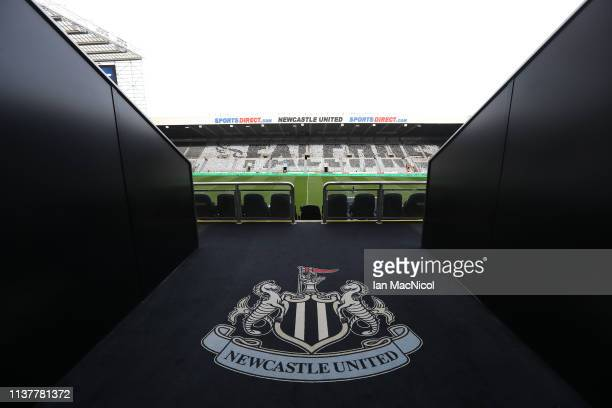A general view of the stadium is seen prior to the Gallagher Premiership Rugby match between Newcastle Falcons and Sale Sharks at St James' Park on...