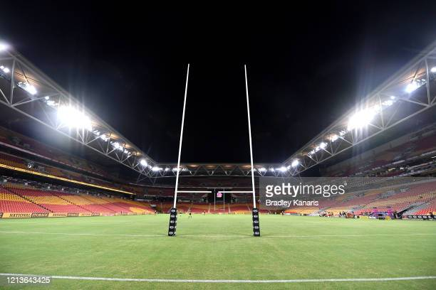 General view of the stadium is seen with no fans as crowds are unable to attend due to the Coronavirus before the round 2 NRL match between the...