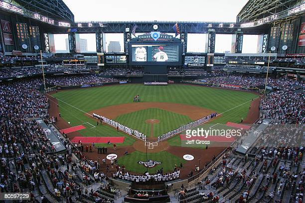 A general view of the stadium is shown during the National Anthem before the Los Angeles Dodgers game against the Arizona Diamondbacks at Chase Field...