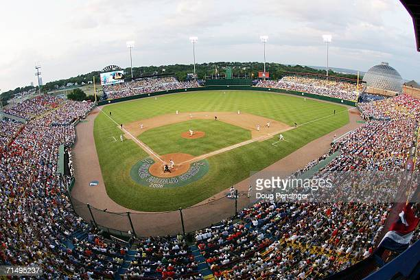A general view of the stadium is shown during the North Carolina Tar Heels game against the Oregon State Beavers during game three of the NCAA...