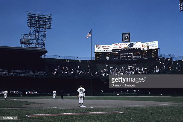 A general view of the stadium looking across the field from firstbase towards centerfield as the national anthem is played prior to a game on May 1...