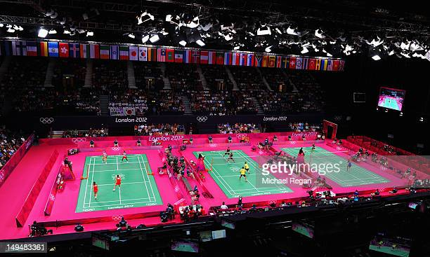A general view of the stadium on Day 2 of the London 2012 Olympic Games at Wembley Arena on July 29 2012 in London England