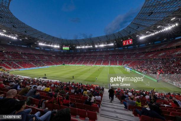 General view of the stadium part filled with fans during the Hungarian Cup Final match between Budapest Honved and Mezokovesd Zsory FC at Puskas...